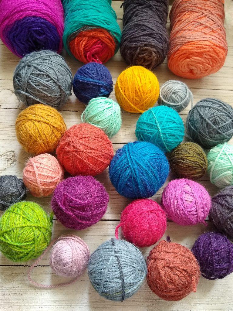 leftover yarn balls for the yarn stash from cutting yarn cakes