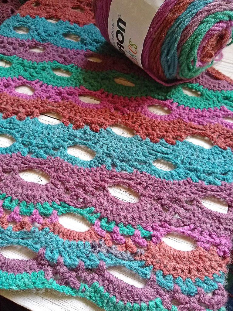 Virus Shawl example of self striping yarn
