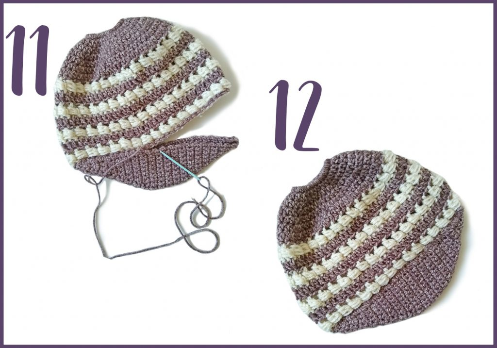 How To photos for sewing on the brim to  messy bun beanie
